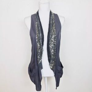 Free People Vest Top Sequins Sleeveless Draped